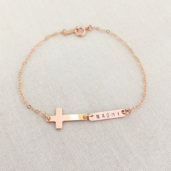 Rose Gold Bar Cross Bracelet Baby Baptism Bracelet Little