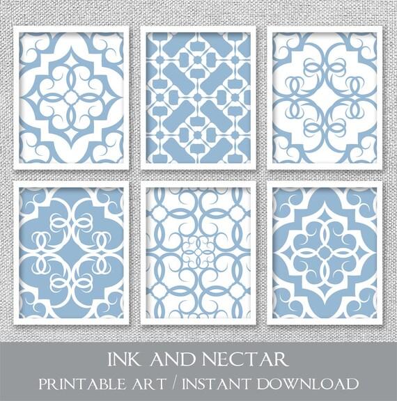 Slate blue wall decor : Printable wall art set of prints slate blue