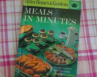 Mid Century Meals in Minutes Cook Book, 1960's Better Homes & Garden Cookbook, Quick Retro Recipes, Shortcut Cooking and Freeze Ahead Meals