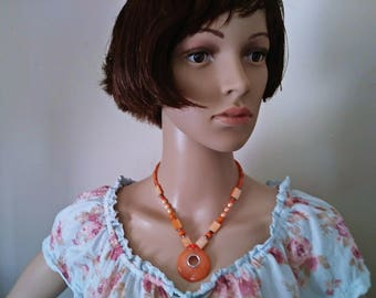 Handcrafted Orange Bead Gemstone and Pearl Chunk Necklace 16.5 Inch