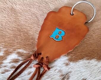Turquoise Leather Arrowhead Keychain, Leather Arrowhead, Tooled Leather, Hand Tooled Keyring, Arrowhead Bag Charm, Southwest Keychain