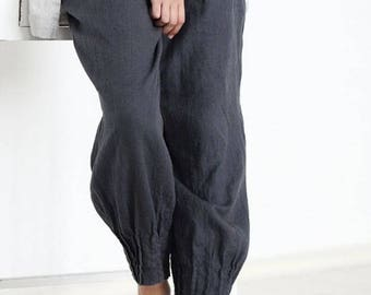 LINEN pants, Loose womens linen pants, Washed linen trousers, Casual loose linen pants, Womens linen clothing