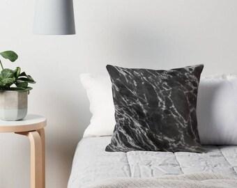 Marble Throw Pillow , Black Accent Pillow , Marble Pillow Case , Marble Pillow , Marble Decor , Marble Home Decor , Marble Cushion , Black