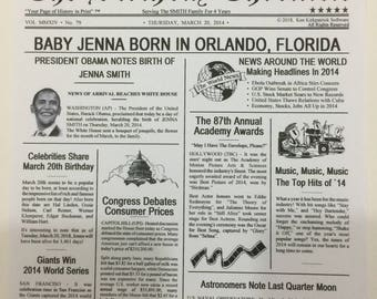 Digital PDF File -- The Birthday Chronicle -- Digital Download