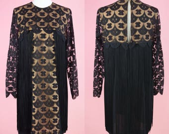 Vintage 60s Dress, Jean of California // 1960s Cocktail Party, Black Lace, Fringe, MCM, Women Size Small