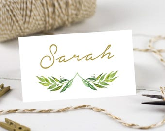 Personalised Printable, Wedding Place Cards, Name Cards, Green Wreath - Marcella Collection