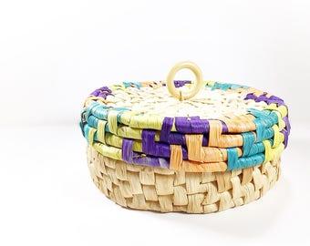 Vintage Round Basket with Lid, Woven Grass Lidded Storage Basket, Purple Orange Green Yellow, Basket Storage, Office Toy Organization