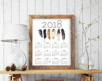 New Year Gift 2018, Large Wall Calendar, 2018 Calendar Printable, Feather Print, Bohemian Decor, Bohemian Art, 2018 Calendar, Calendar, 7022