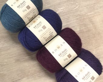 Rowan KID CLASSIC+Free Patterns! 9.99 +.1.25ea Ship Aran Yarn Tattoo Teal 856-Blue 873-Victoria 852-Purple 887 + MSRP 12.50