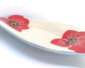 Oval Trinket Tray, red poppies trinket dish spoon rest small serving tray dish jewelry holder oval serving tray appetizer dish catchall