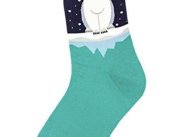 Art Socks,Polar Bear on Ice Cap Socks,Fun, Cool, Crew Socks for Girls and Women,Teachers,Gift,Art Socks,Unique Gift