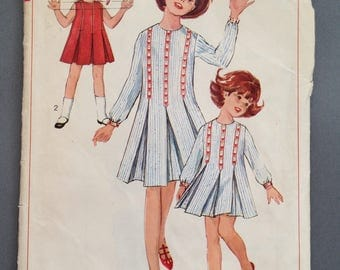 Simplicity 6324 Girls Vintage Sewing Pattern 1960s Dress Inverted Pleat Pleated Above Knee Long Sleeve Sleeveless A Line Round Neckline 6