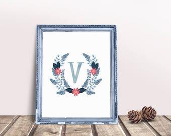 Baby Initial Decor V | Letter Floral Wreath, Name Letter Poster, Floral Wreath Letter, Personal Nursery Art, Letter Poster