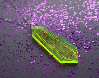 Laser Cut Neon Green Acrylic Crystal Pendant Necklace / Modern & Minimalist Jewelry / Cyberpunk Jewelry / Futuristic / Low Poly