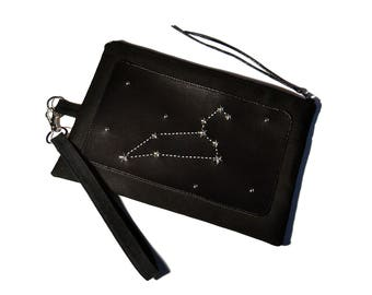 Choose the constellation. Black Clutch. Handbag. Studded bag. Studded clutch. Star stud. Horoscope, zodiac. Wicca. Astronomy, galaxy bag.