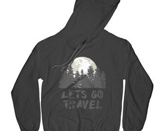 Travel hoodie mountains hoodie forest hoodie funny hoodie adventure hoodie hiking sweater moon hoodie  APV55