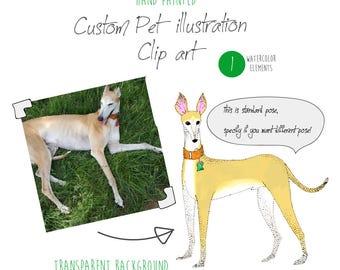 Watercolor clip art, Custom Pet Portrait Illustration, dog illustration, Personalized pet portrait, dog drawing, cat portrait from photo