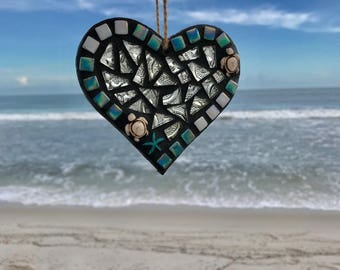 Stained Glass Mosaic Heart, Sea Turtle Heart, Beach Ornament, Turtle, Heart Ornament, Heart, Christmas Ornament, Christmas Gift