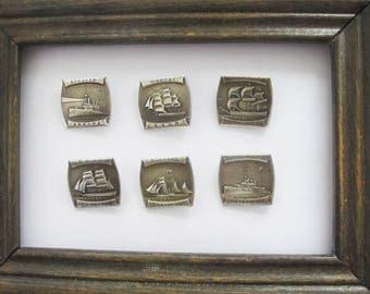 Set of 6 Russian Historical Ships Enamel Pins, Vintage Enamel Pin Badges, Soviet Collectible Lapel Pin