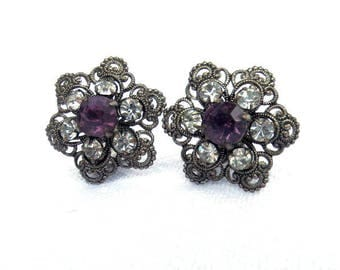 Filigree Metal Clip On Earrings, Faux Amethyst & Diamond Faceted Stones, Silver Tone Metal Costume 1950s Excellent Condition