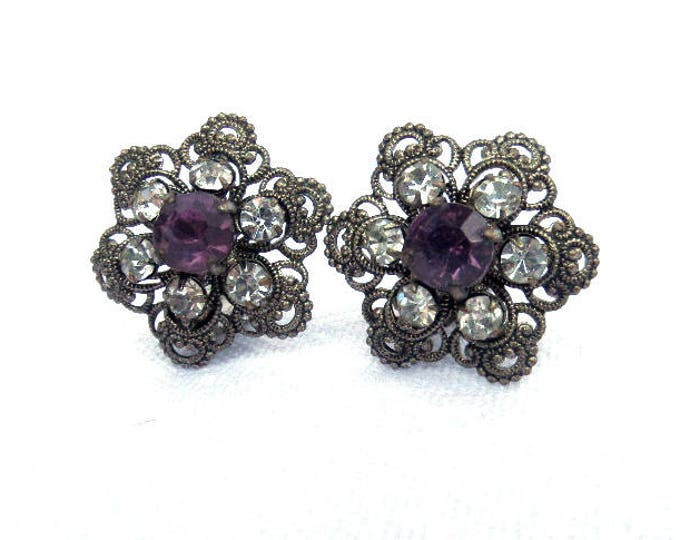 FREE SHIPPING Filigree Metal Clip On Earrings, Faux Amethyst & Diamond Faceted Stones, Silver Tone Metal Costume 1950s Excellent Condition