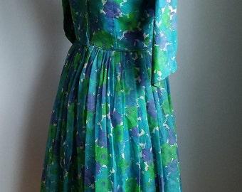 vintage floral overlay dress