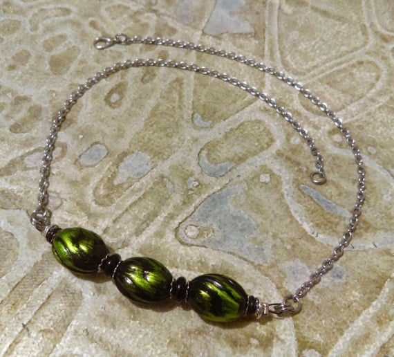 Green Black Oval Beads Beaded Necklace Black Glass Beads Acrylic Black Rubber Rings Stainless Chain Tibetan Silver Beads