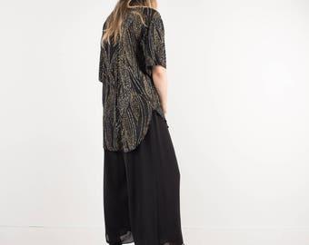 AMAZING Vintage Black Chiffon Wide Leg Pants / S / pants festival trousers culottes sheer palazzo pants