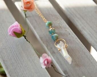 Angel Aura Quartz Necklace, Angel Aura Crystal Necklace, Bohemian Pendant, böhmischer Anhänger, Boho Kristallanhänger, Pendentif Crystal