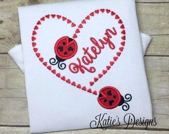 Valentine applique shirt, Valentine shirt, Ladybug shirt, Girl's Valentine, Girl's shirt, Valentine applique shirt, personalized, monogram