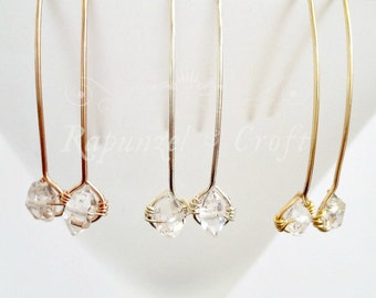 Herkimer Diamond Drop Earrings | Long Earrings | Stick earrings | Line Earrings | Gold Silver Rose Gold drop earrings | Dangle earrings