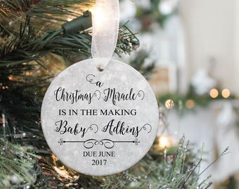 Pregnancy Ornament- Expecting Ornament- Baby Ornament- Pregnancy announcement -New Parents ornament- Christmas Pregnancy Announcement