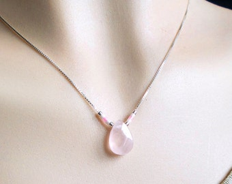 Necklace with natural rose quartz pink pendant stone natural stone drop beads pink white silver chain and faceted