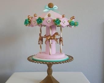 Carousel cake topper / carousel - colorful & elegant with teal flowers