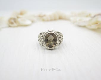 16 carats Victorian Style Smoky Topaz Sterling Silver Ring (Size 8)