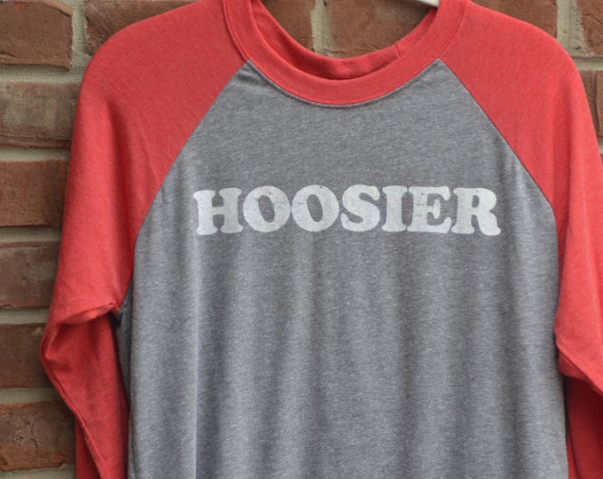 Featured listing image: Hoosier tee in raglan baseball 3/4 sleeve length style