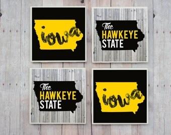 Iowa / Iowa Coasters / Iowa Hawkeye State / Hawkeye State / Coaster / Iowa Home / Iowa Love / Iowa Gift / Iowa Decor / Iowa City / Iowa Home