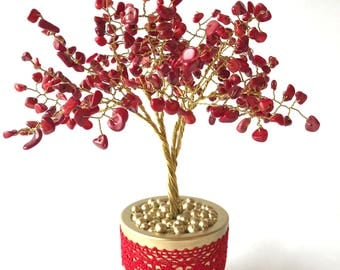 Red coral gemstone tree - symbol of love and passion/ Tree of luck