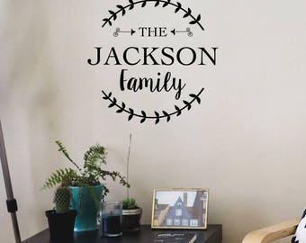 Family Name Wall Decal , custom family name, family name sign, Last Name Monogram Vinyl Wall Decal, Family Decal, family name wall decor,