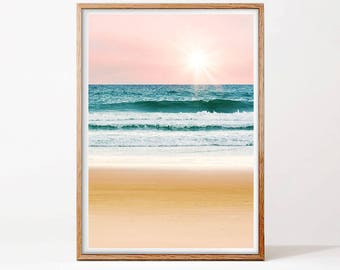 Ocean Wave Print, Coastal Print, Beach Decor, Sea Printable, Blue Sea Wall Art, Digital Print, California Photo, Scandinavian Wall Art