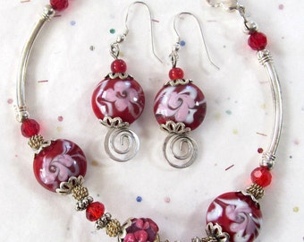 Valentine Gift For Her - February Red & Pink Jewelry Set - Bracelet and Earring Jewelry Combo - Larger Wrist Jewelry Gift Idea