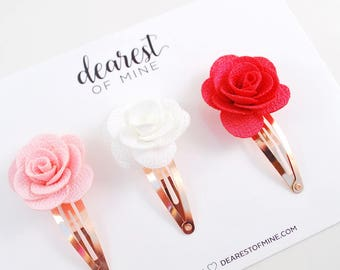 Rose gold fabric flowers snap clips   Pink rose clip, White rose clip, Hot pink rose clip   Rose gold hair clips