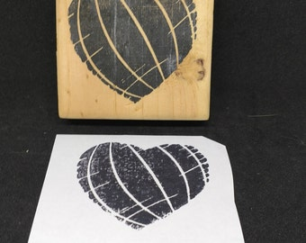 Heart print rubber stamp