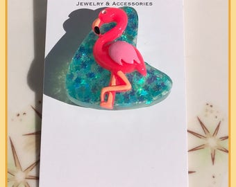 Kitschy Pink Flamingo Pinup Brooch Rockabilly Pin
