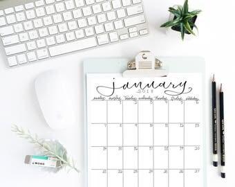 2018 Printable Calendar- 12 Months