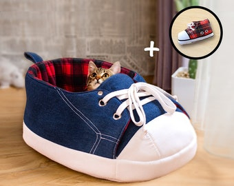 Cat Gift Set, Sneaker Cat Bed, Sneaker Catnip Toy, Tartan, Cat Condo, Cat Furniture, Cat Cave, Cat Lover Gift, Cat Bedding, Modern Cat Bed