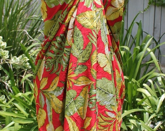 Red and Gold Floral Lightweight Cotton Sarong, Scarf and Pareo