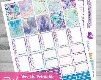 Printable Planner Stickers, Lavender Planner, Weekly planner, floral stickers, use with Erin Condren, Lilac, Gold, Woodland animal, Cutfiles