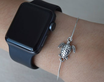 Turtle Bangle, Turtle Bracelet, Silver Turtle Bangle, Nautical Beach Coastal Jewelry, Vacation Accessories, Beach Wedding