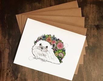 Hedgehog Card Set - Floral Hedgehog A2 Greeting Cards with Kraft Envelopes, Set of 4 Blank Cards, Woodland Creature Cards, Hedgehog Drawing